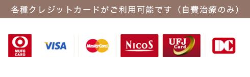 各種クレジットカードがご利用可能です(自費治療のみ)